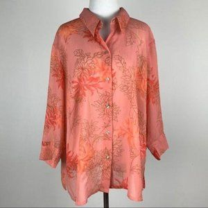 JH Collectibles top size 20W floral button down